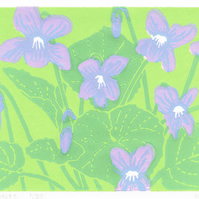 Violets - Original limited edition linocut print.