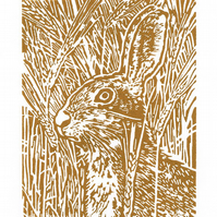Brown Hare art - Hare in the Barley - Original Hand Pulled Linocut Print