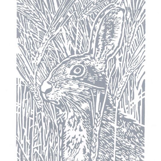 Grey Hare art  - Original Hand Pulled Linocut Print