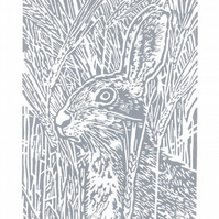 Hare. Grey Hare art  - Original Hand Pulled Linocut Print
