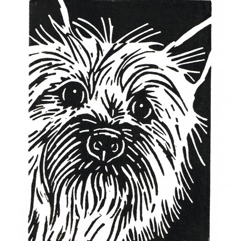 Dog Art - Cairn Terrier Dog - Original Hand Pulled Linocut Print