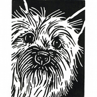 SALE 50% OFF! Dog Art - Cairn Terrier Dog - Original Hand Pulled Linocut Print