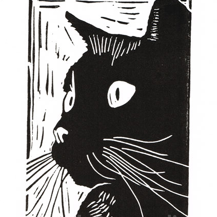 Black Cat - titled Curiosity - Linocut Print