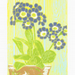 SALE 30% OFF! Auricula Flower - Soft Damson - Original linocut print