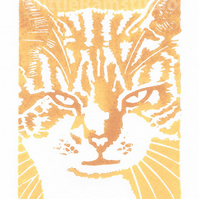 Ginger Tom Cat - Original linocut print