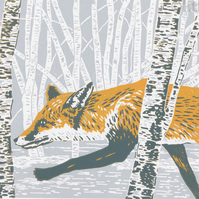 Red Fox - limited edition linocut reduction print