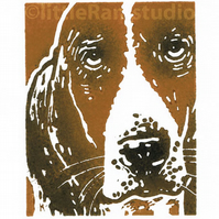 Dog - Basset Hound - printed in black & tan, Original Hand Pulled Linocut Print