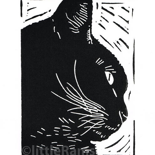 Cat art - Black Cat Profile - Original Hand Pulled Linocut Print