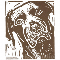 Personalised - Dog Art - Chocolate Labrador Dog - Linocut Print