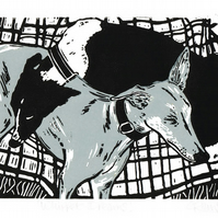 Whippet dogs sleeping - Original linocut print