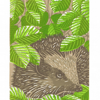 Hedgehog, Spring - Limited Edition Linocut Print