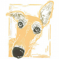 Tan Whippet Dog, Original Linocut Print