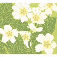 Primroses - Original Linocut Reduction Print