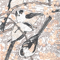 Long Tailed Tits - Original hand cut limited edition linocut print