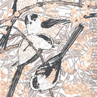 Long-tailed Tits - Original hand cut limited edition linocut print