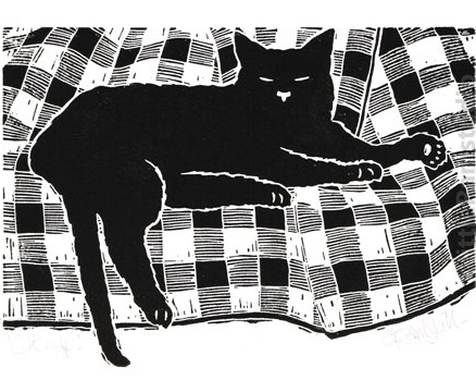 'Cat nap' - black cat sleeping - Original linocut print