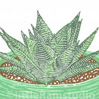 SALE 25% OFF! Succulent plant, Haworthia - Original Linocut Reduction Print