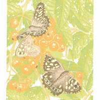 SALE 50% OFF! Speckled Wood Butterfly Original Linocut Print