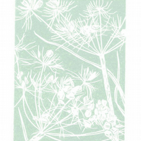 Wild flower - Cow Parsley seedhead - Original Linocut Print