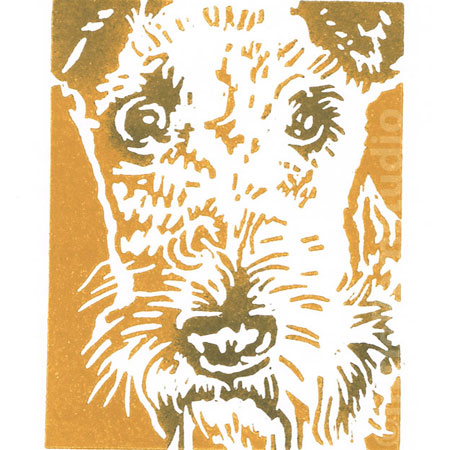 Airedale Dog - Original Hand Pulled Linocut Print