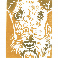 SALE 50% OFF! - Airedale Dog - Original Hand Pulled Linocut Print
