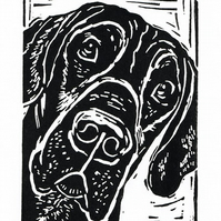Black Great Dane - Linocut Print