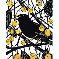 Blackbird - Original limited edition linocut print