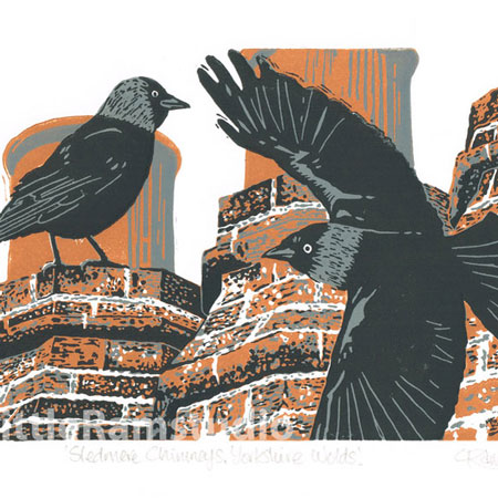 Jackdaws - Original limited edition linocut print