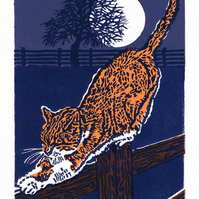 Marmalade Cat by Moonlight - Original, Limited Edition Linocut Print