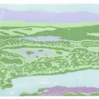 Lake Windermere from Gummer's How Fell - Original Limited Edition Linocut Print