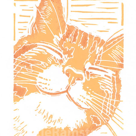 Happy Ginger Cat - Original linocut print