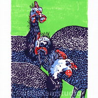 Confusion of Guinea Fowl - Original, Hand Pulled, Limited Edition Linocut Print