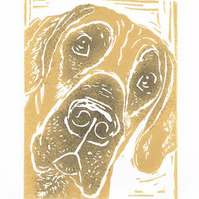 Great Dane Dog - linocut print