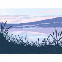 Purple Sunset titled 'Twilight Walk' limited edition linocut print.