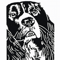 Springer Spaniel Dog - Original Hand Pulled Linocut Print