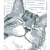 Happy Tabby Cat - Original Linocut Print