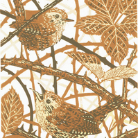 Wrens - 'The Wrens' Duet - Original hand cut limited edition linocut print