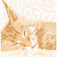 'Ginger Maine Coon Cat' - Original linocut print