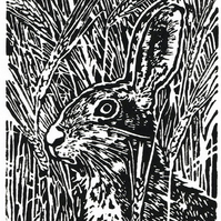 Hare animal art - Hare in the Barley - Original Hand Pulled Linocut Print