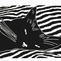 Cat - Black Cat Bedtime - Original Hand Pulled Linocut Print
