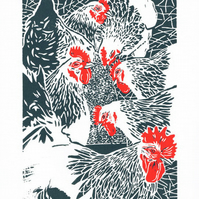 Hens - Flock of White Sussex Hens - Original linocut print