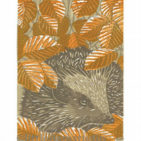Hedgehog - Autumn - Limited Edition Linocut Print