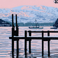Winter Sunset on Lake Windermere - Limited Edition Linocut Reduction Print
