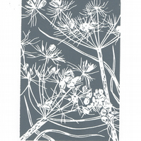 Cow Parsley grey - Handcut Linocut Print