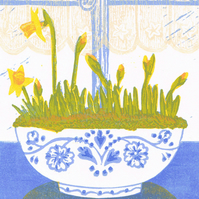 Daffodils forced bulbs - Original limited edition linocut print.
