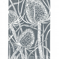SALE 30% OFF! Charcoal grey Teasel - Hand cut Linocut Print