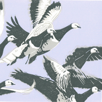 Barnacle Geese. Original hand cut limited edition linocut print