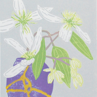 Clematis in Kintsugi Vase - Limited edition Linocut Print