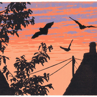 Back Garden Bats - limited edition linocut print