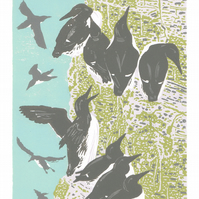 Guillemots, sea birds - Original hand cut limited edition linocut print